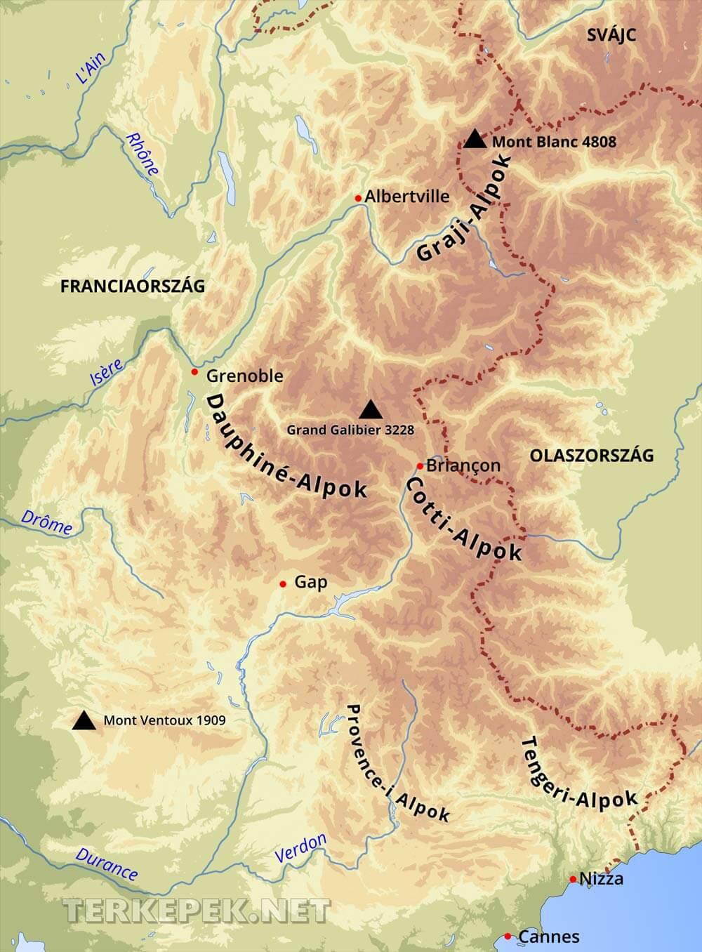 franciaország domborzati térkép Francia Alpok domborzati térképe franciaország domborzati térkép