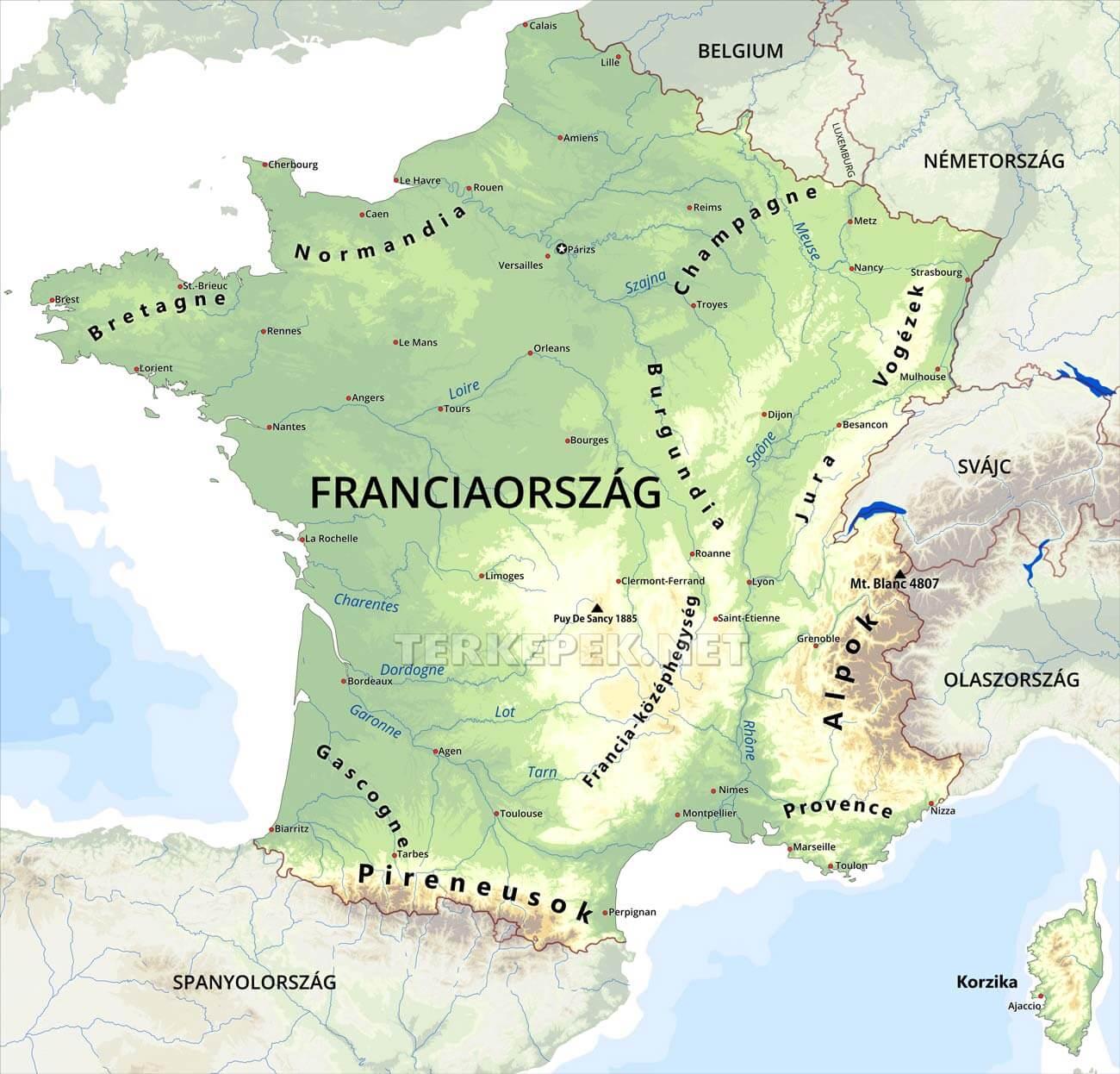 franciaország domborzati térkép Franciaország térképek franciaország domborzati térkép
